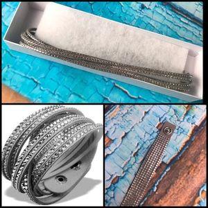Swarovski Silver Twisted Wrap Bracelet